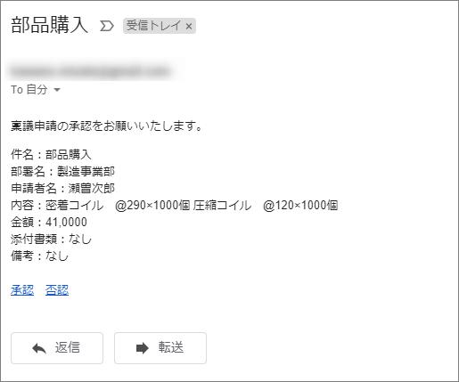 メールを受信した画像